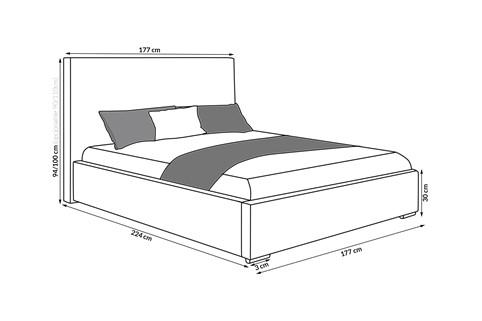Łóżko ORNER z pojemnikiem na pościel 120/140/160/180/200 x 200